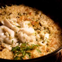 Cod risotto with artichokes and garbanzo beans