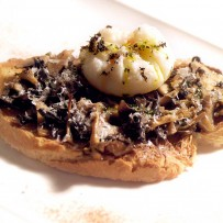 Wild mushrooms and poached egg on toast