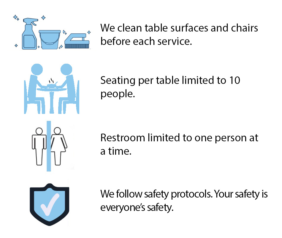 Safety protocols Rostei restaurant